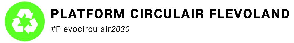 Logo Platform Circulair Flevoland met hashtag Flevocirculair2030