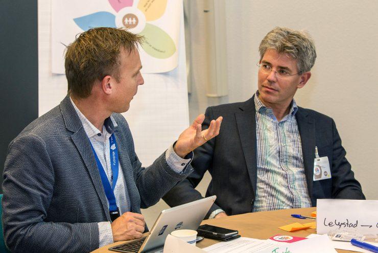 Deelnemers in gesprek met elkaar tijdens Flevotop