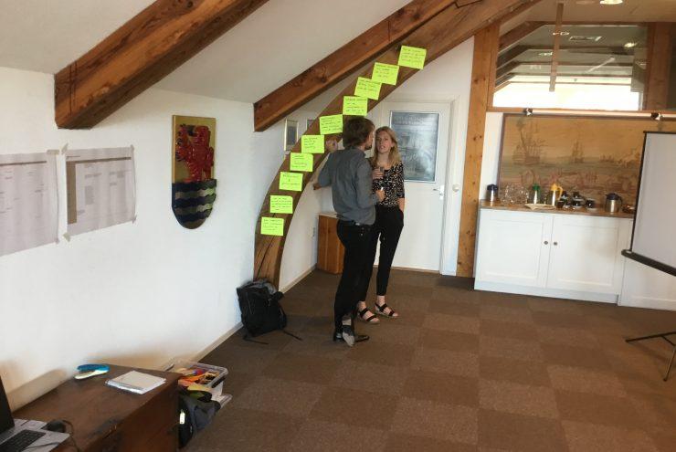 Twee mensen staan te praten. Boven hen staat een balk met gele papiertjes met teksten er op.