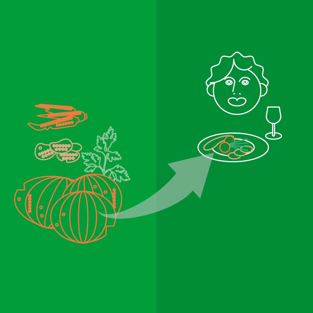 Illustratie van TasteUp, het verwerken van 2e klas groenten naar nieuwe voedselproducten