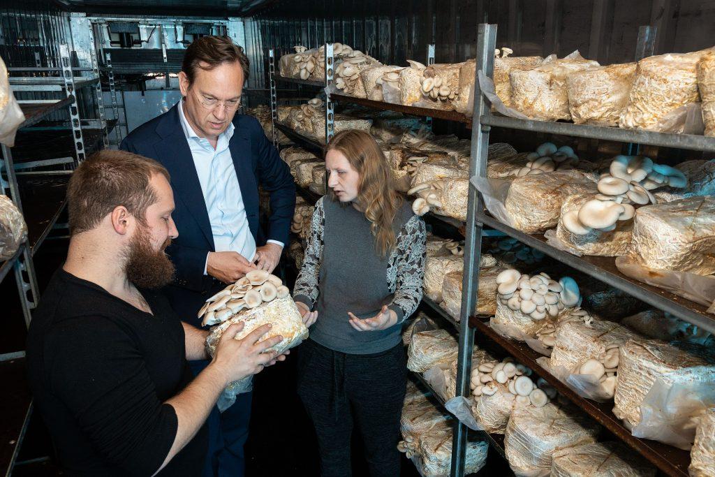 Gedeputeerde Jan-Nico Appelman bekijkt paddenstoelen bij Mycophilia.