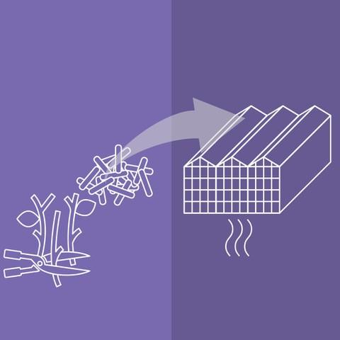 Afvalhout wordt gebruikt om kassen mee te verwarmen.